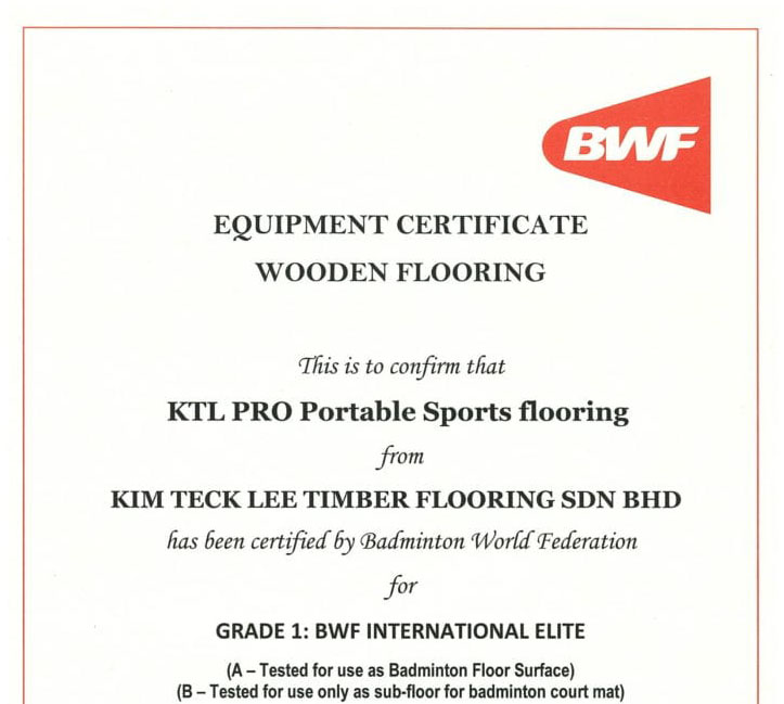BWF KTL Equipment Certificate KTL PRO Portable Sports flooring