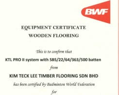BWF Equipment Certificate KTL PRO II system
